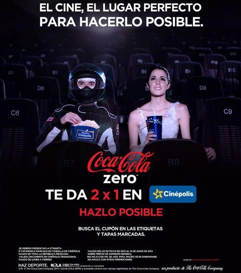 Cinépolis: 2x1 con etiqueta o taparosca de Coca Cola Zero