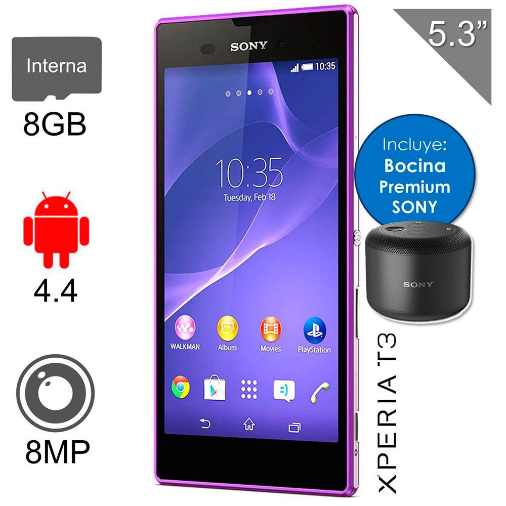 Walmart: Sony Xperia T3 8GB Morado 3G + Regalo