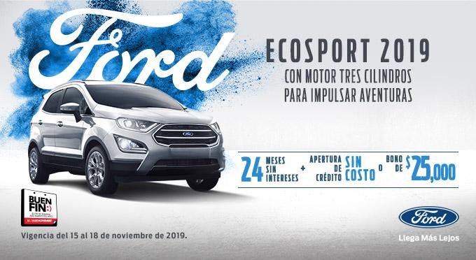 Promociones buen fin 2019 FORD: ecosport 24 msi