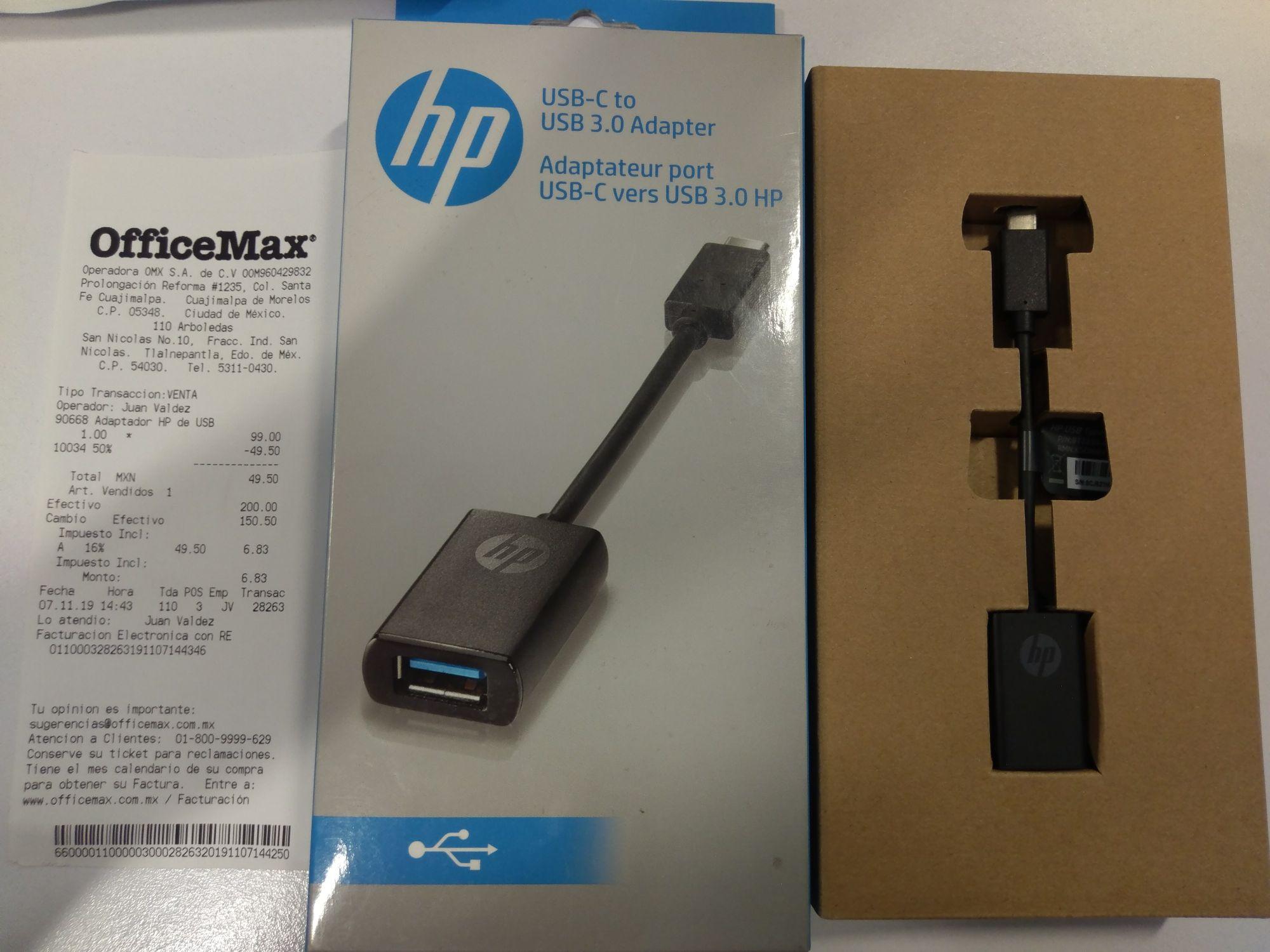 OfficeMax Arboledas Tlalnepantla. HP adaptador USB-C a USB 3.0