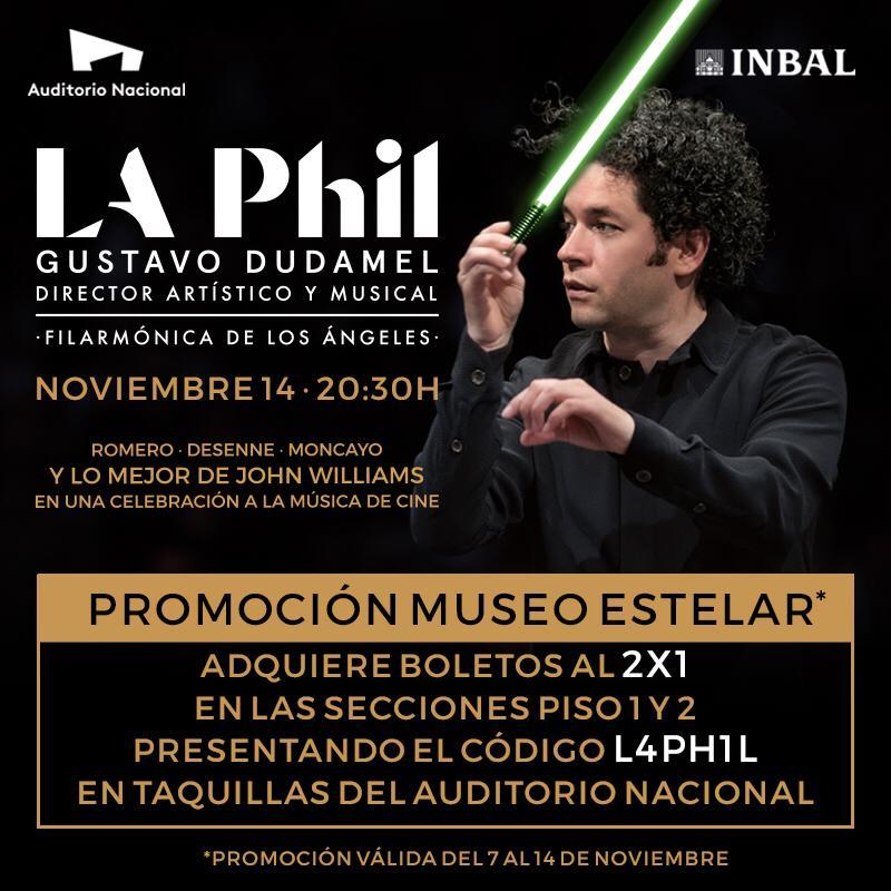 Auditorio Nacional: 2x1 para concierto Gustavo Dudamel y la Orquesta Filarmónica de Los Ángeles 14 de nov