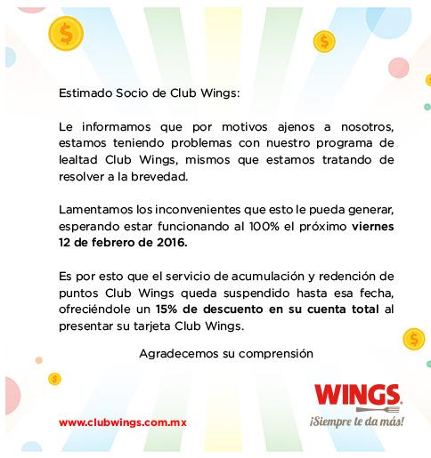 Wings: 15% de descuento en el total de tu cuenta