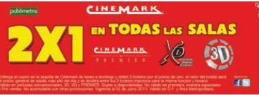 Cupón 2x1 Cinemark válido en todas las salas