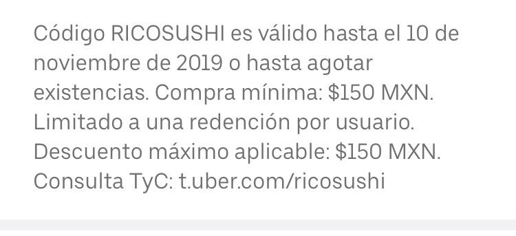 Uber Eats 40% descuento en sushi