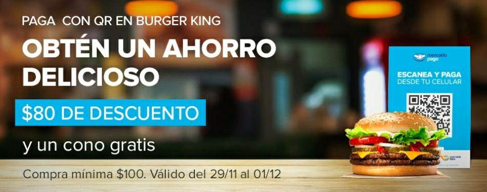 Mercado Pago: $80 de descuento y cono gratis en Burger King