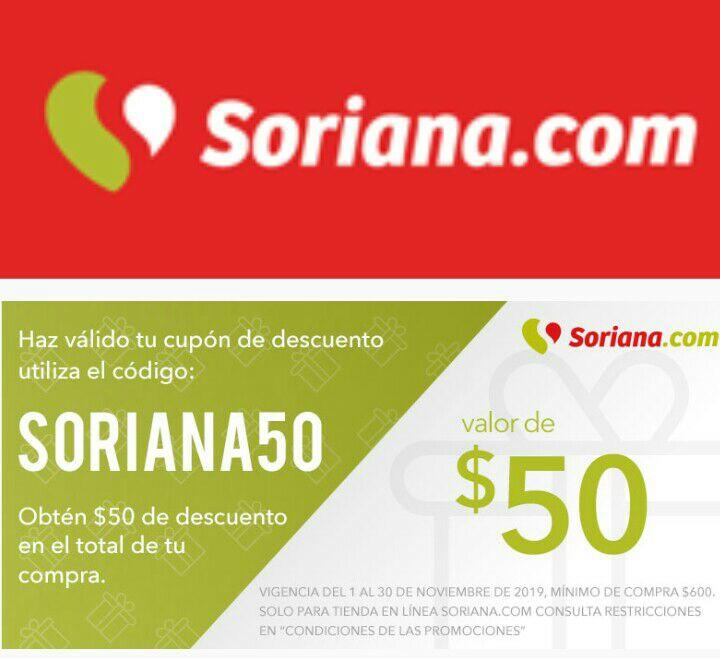 Soriana en línea: $50 de descuento