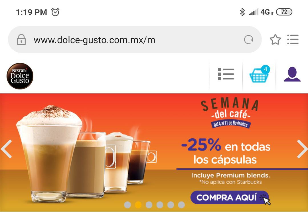 Dolce Gusto: Cápsulas dolce gusto 25% de descuento + 10% pagando con mercadopago