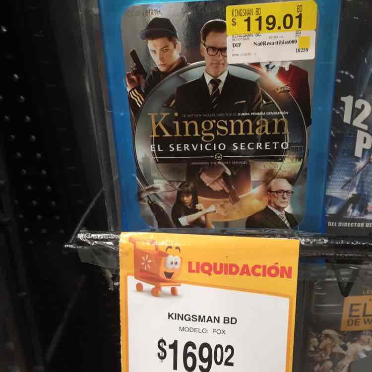 Walmart: Kingsman en Bluray a $119.01