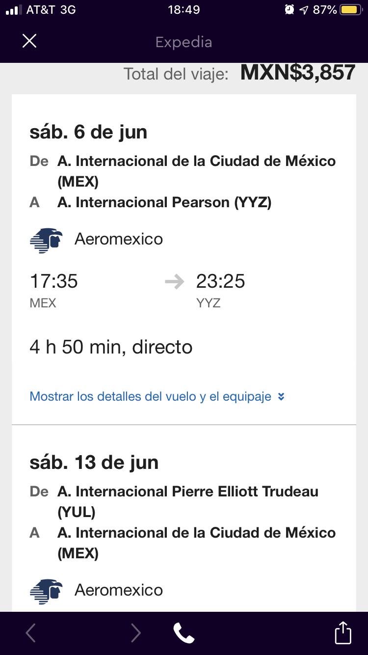 Vuelo redondo verano 2020 CDMX-TORONTO/ MONTREAL-CDMX