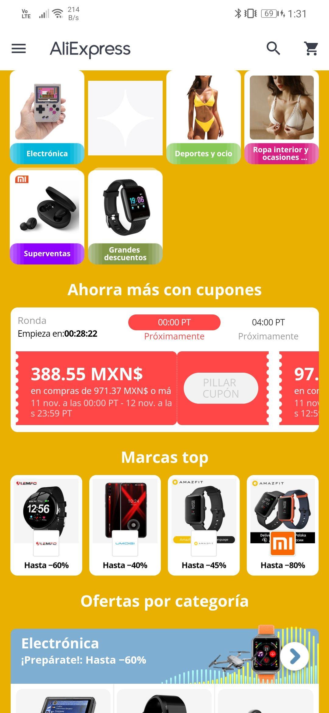 AliExpress: Cupón de 388 compra minima 971