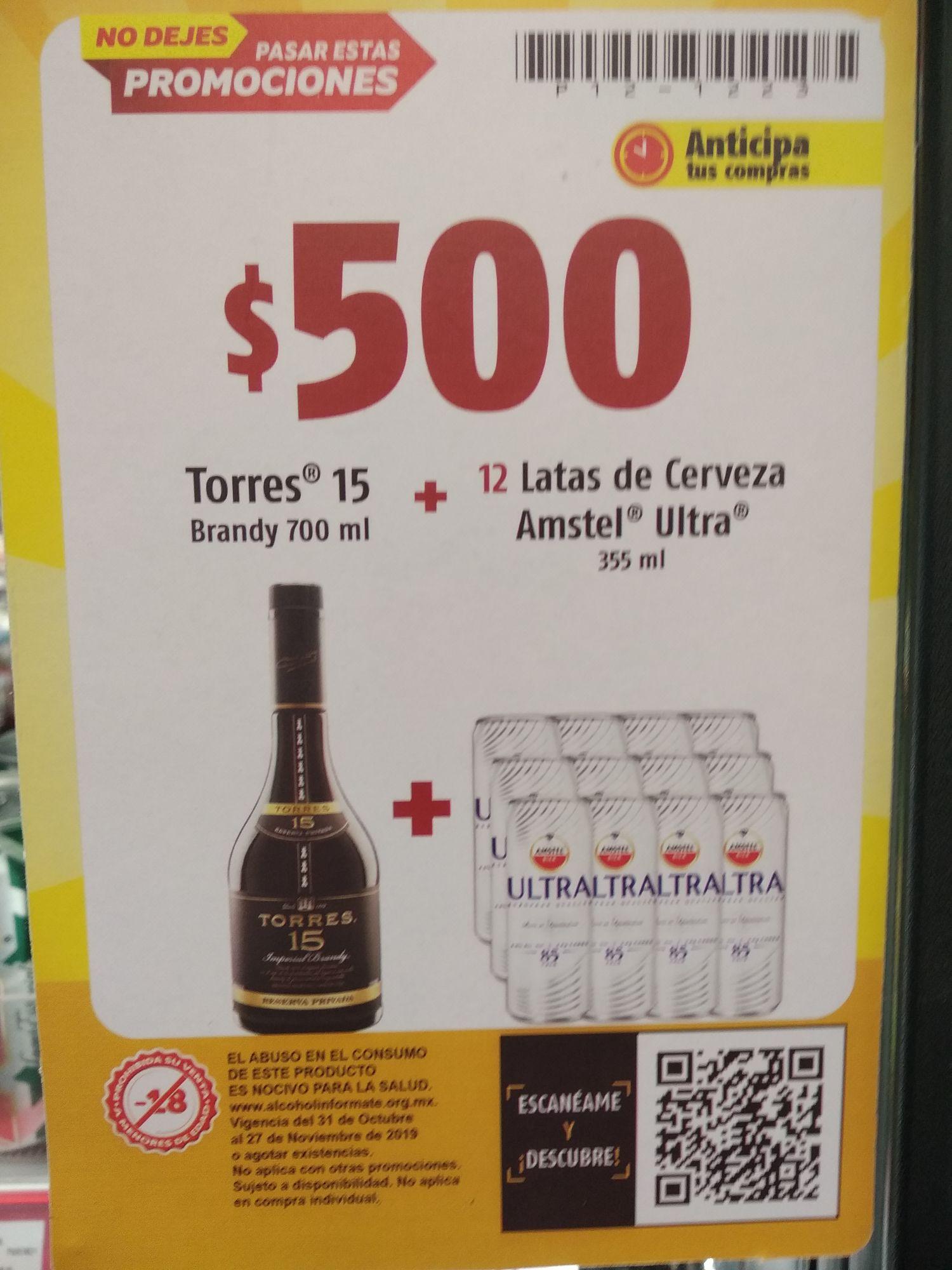 Oxxo: Brandy Torres 15 700 ml + 12 Amstel Ultra 395 ML c/u