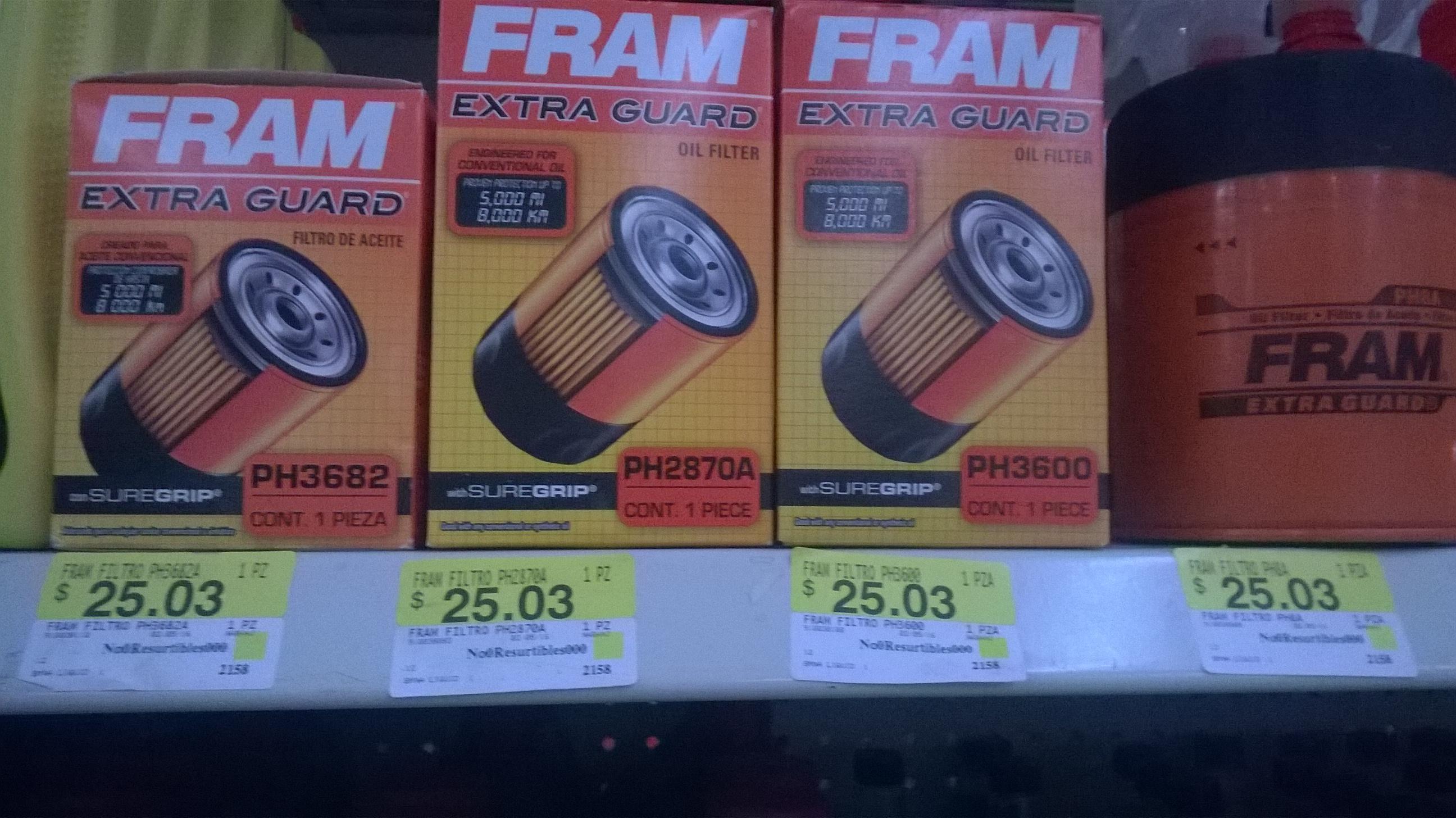 Bodega Aurrerá: filtro de aceite para auto Fram $25.03