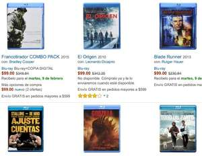Amazon MX: películas Blu-Ray a $99 varios títulos