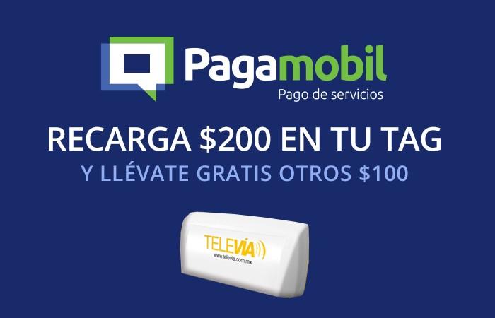 Pagamobil: $100 extras al recargar $200 en tu TAG
