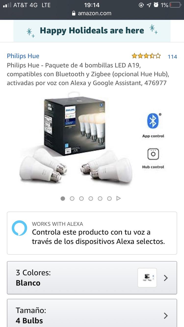 Amazon USA: Philips Hue blanco 4 focos
