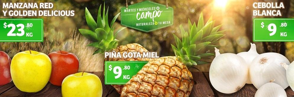 Soriana Híper, Súper y MEGA: Martes y Miércoles del Campo 12 y 13 Noviembre: Piña ó Cebolla $9.80 kg... Manzana Red ó Golden $23.80 kg.