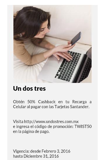 undostres: 50% de cashback en tu Recarga a Celular al pagar con Tarjetas Santander