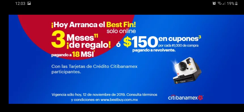 Ofertas El Buen Best Buy: 18 MSI con 3 Meses de regalo o $150 en cupones por cada $1000 de compra pagando con Citibanamex