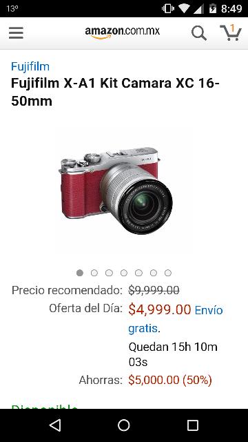 Amazon MX: Cámara Fuji X-A1 Kit XC 16-50mm a $4,999