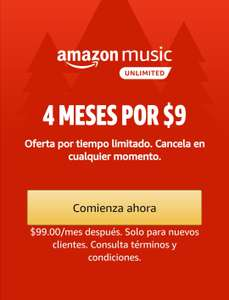 Amazon MX: 4 Meses de Amazon Music Unlimited por $9 (nuevos usuarios)