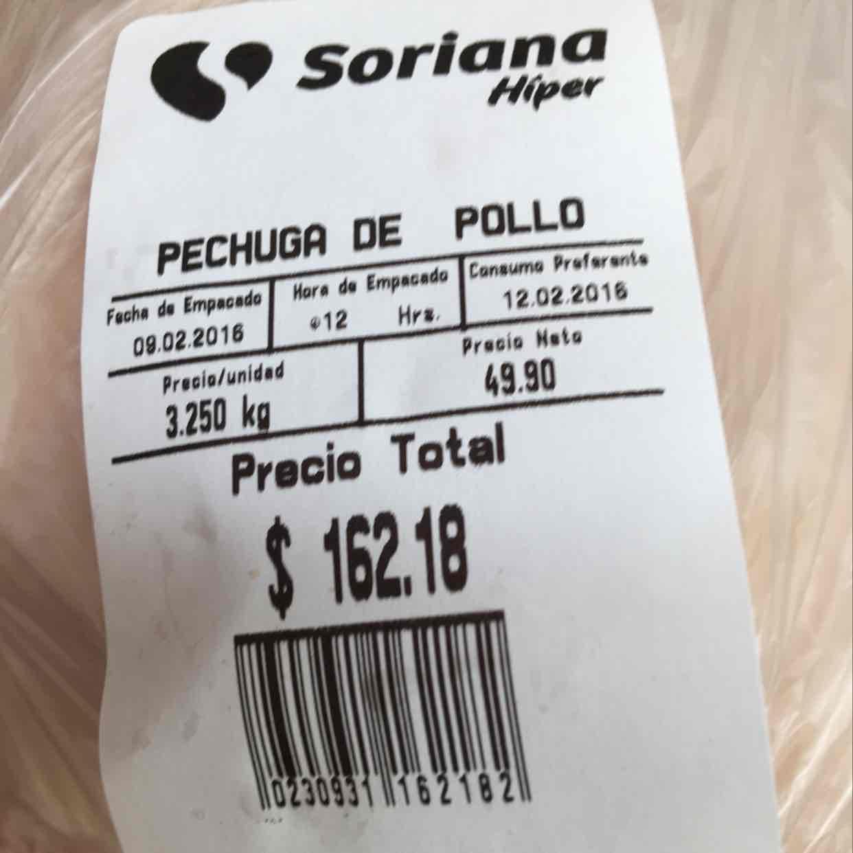 Soriana: Pechuga de Pollo a $49 el kilo