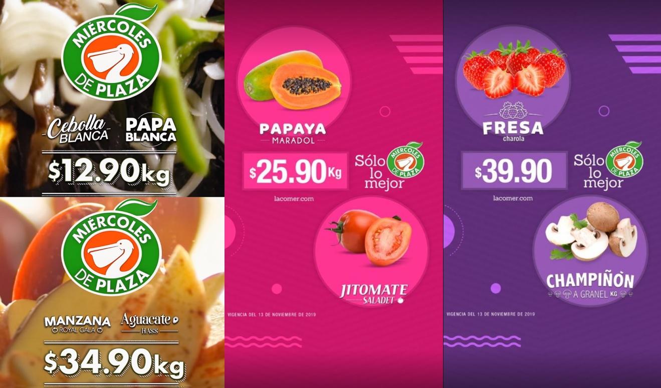 La Comer y Fresko: Miércoles de Plaza 13 Noviembre: Cebolla ó Papa $12.90 kg... Aguacate ó Manzana Gala $34.90 kg.