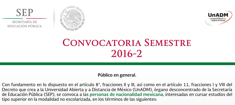 Convocatoria para estudiar Licenciatura en Línea en Universidad Abierta y a Distancia de México (UnADM)