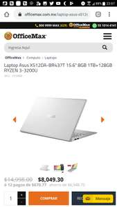 "Office Max: Laptop Asus X512DA-BR437T 15.6"" 8GB 1TB+128GB RYZEN 3-3200U + pantalla jvc de 32 smart tv"