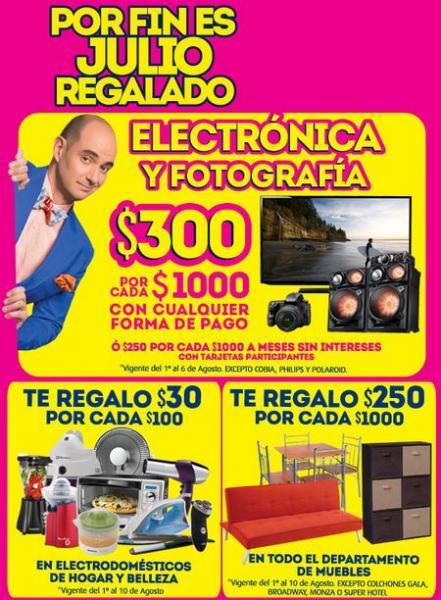 Ofertas de Julio Regalado en La Comer: 300 menos por cada $1,000 en electrónica