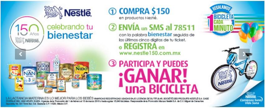 Nestle: Compra $150 en productos = Posibilidad de ganar una Bicicleta