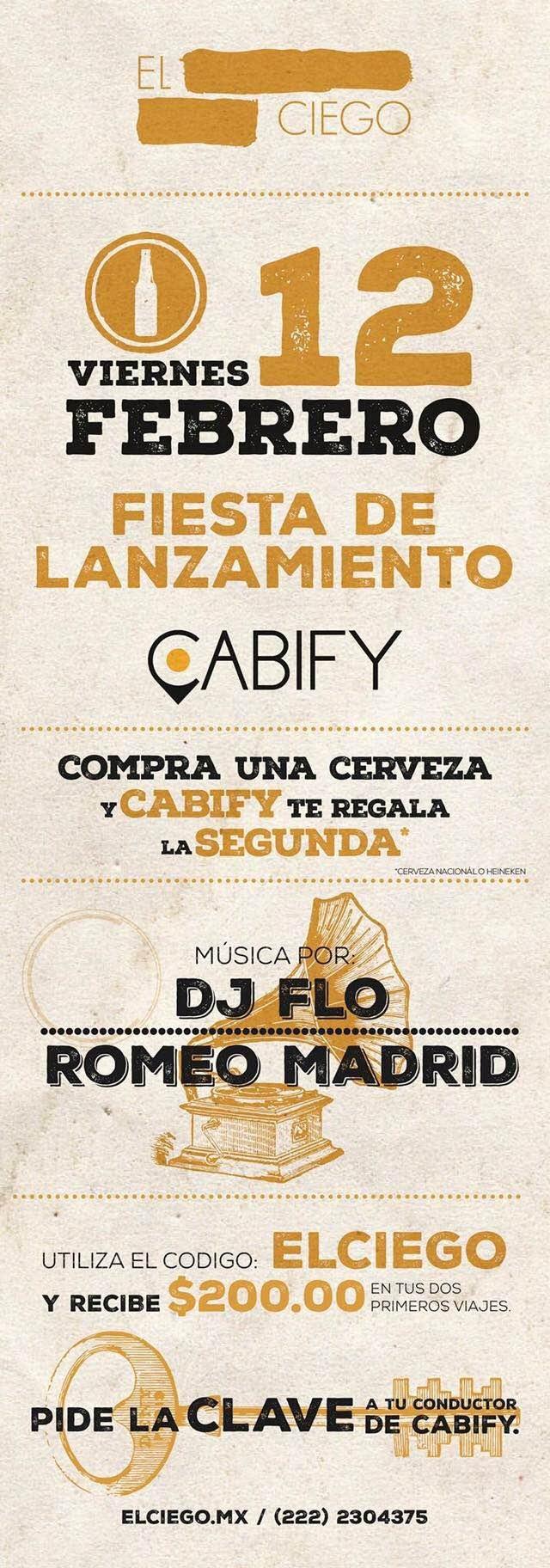 Cabify: Descuento por lanzamiento de Cabify Puebla