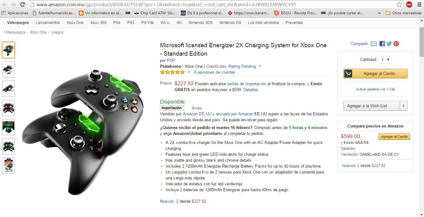 Amazon MX: Sistema de carga Energizer para 2 controles de Xbox One