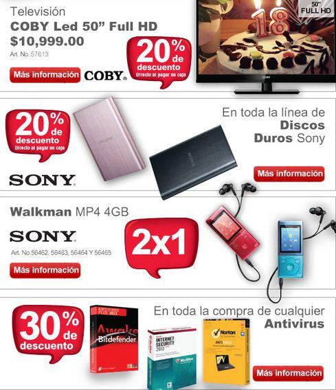 "Office Depot: pantalla LED 50"" $8,799 y 2x1 Walkman Sony 4GB"