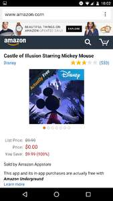 Amazon Underground: Castle of Illusion Starring Mickey Mouse GRATIS para android. Precio original 173$