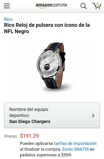 Amazon MX: Reloj de pulsera de la NFL desde 191.29