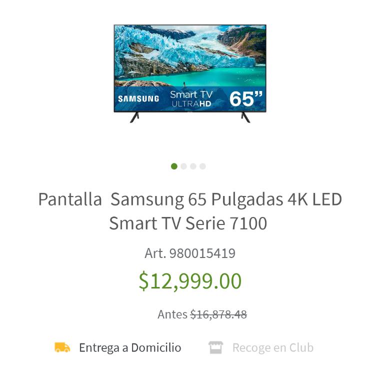 Sam's Club: Pantalla Samsung 65 Pulgadas 4k Serie 7100