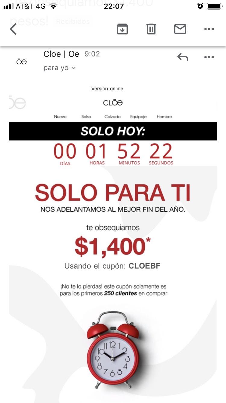 Bolsas CLOE: $1400 de descuento en compras de $3499