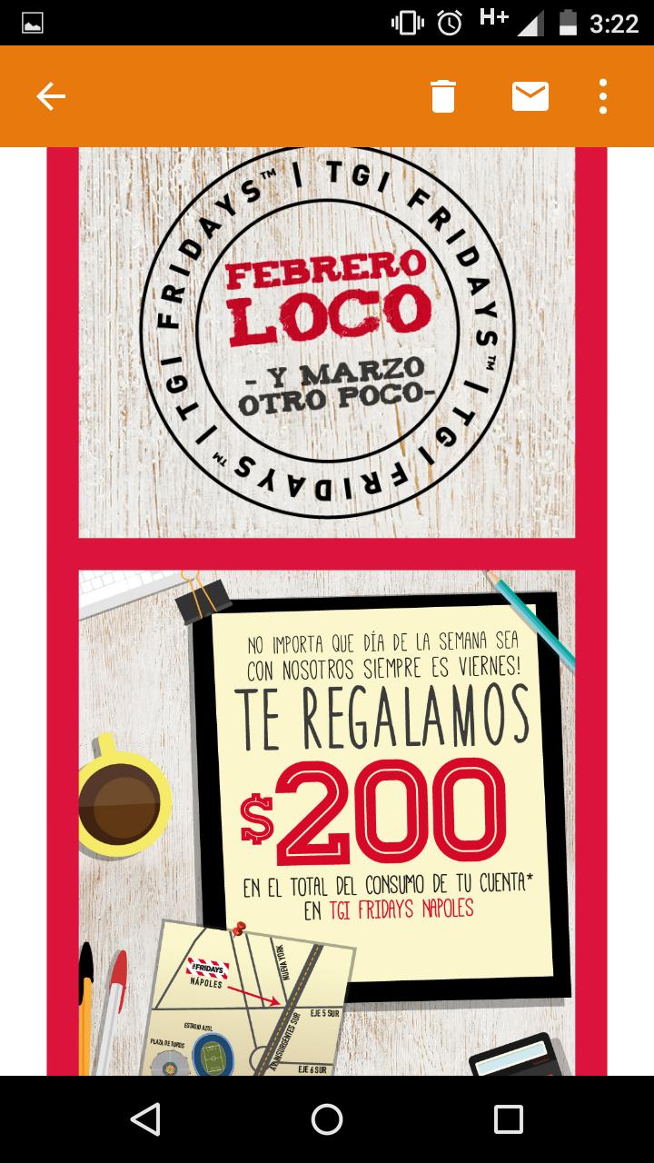 TGI Friday's Nápoles: $200 de descuento en el total del consumo de la cuenta