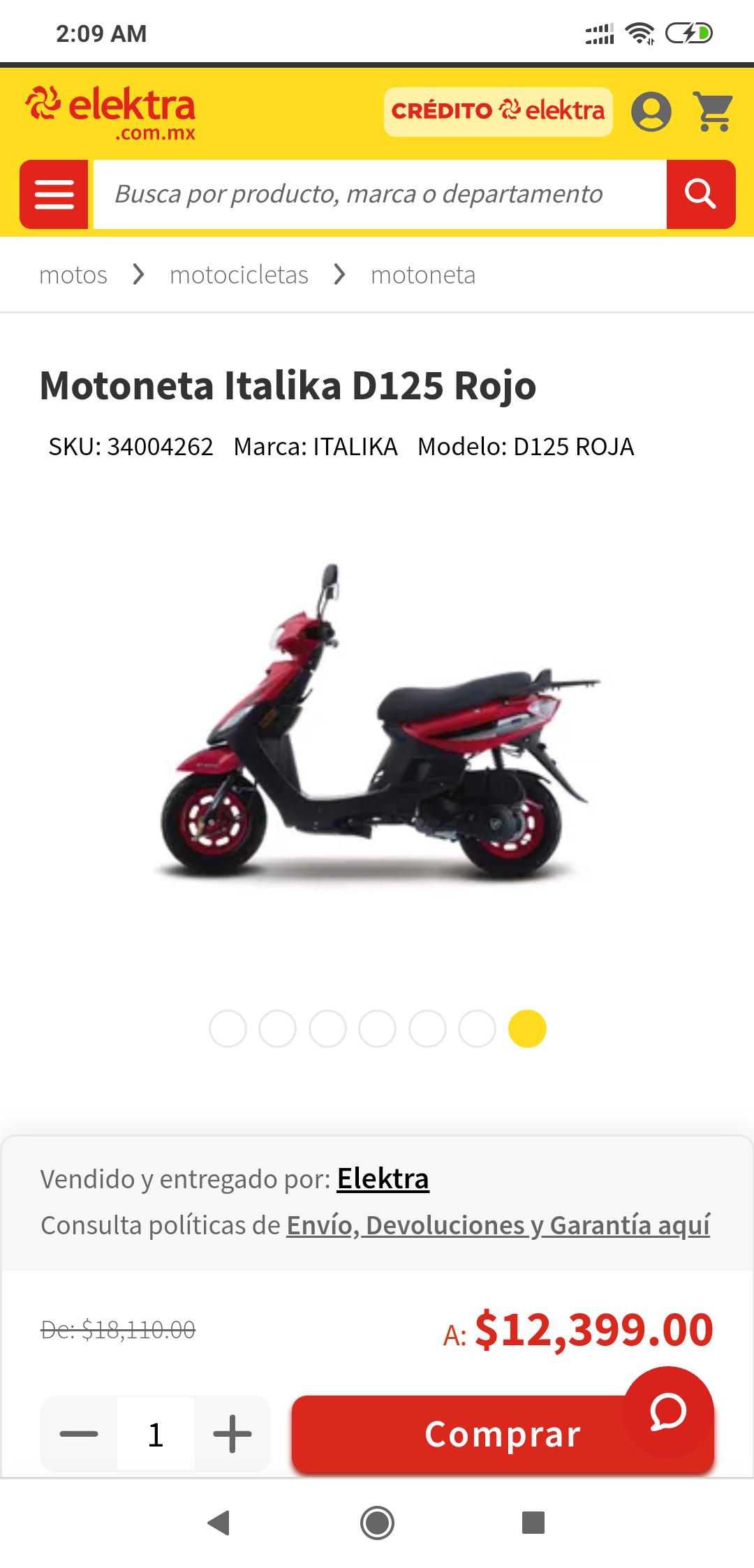 Elektra Moto Italika roja (Banamex10% en bonificación)