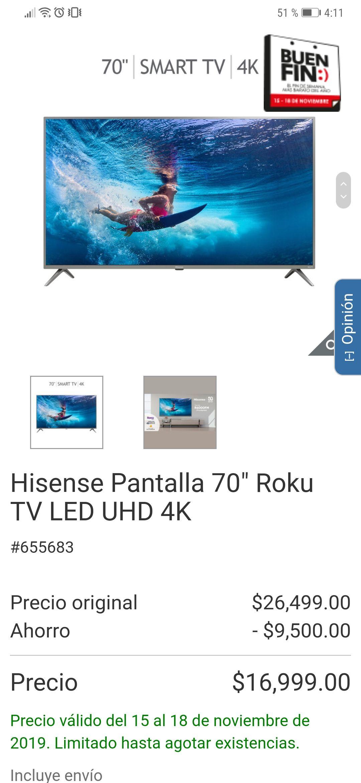 """Costco Hisense Pantalla 70"""" Roku TV LED UHD 4K"""
