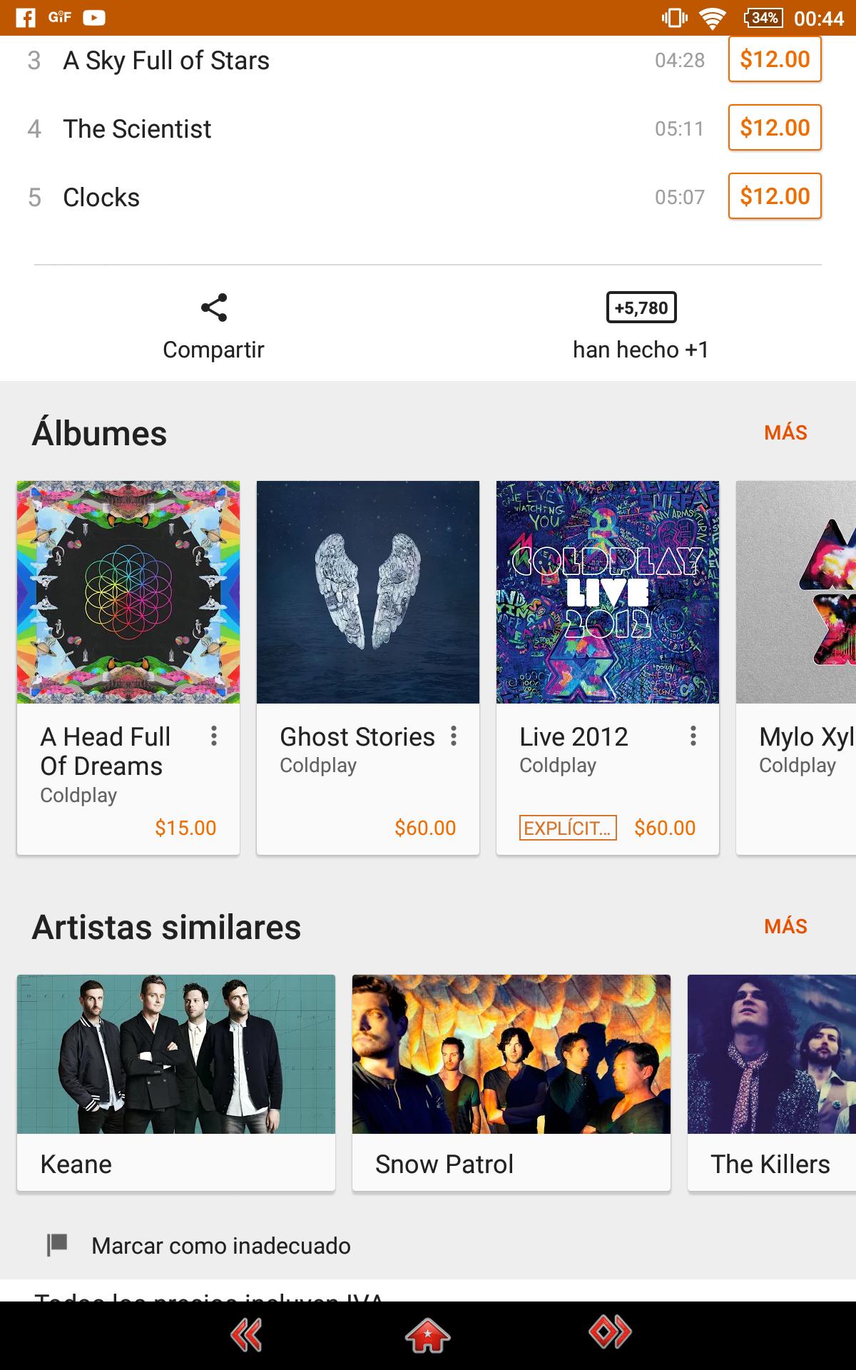 Google Play: Nuevo album de coldplay a solo $15 pesos