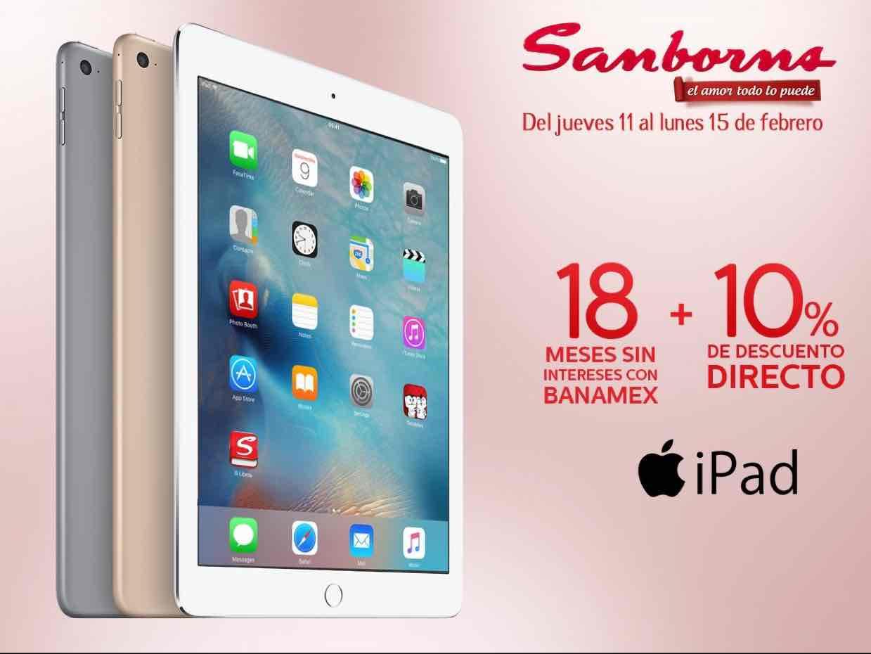 Sanborns: descuento del 10% en todas las iPad + 18 meses sin intereses