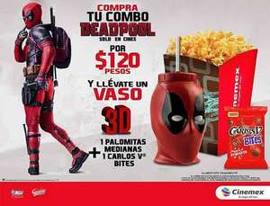 Cinemex: Deadpool Combo: Palomitas, Vaso y Chocolatines