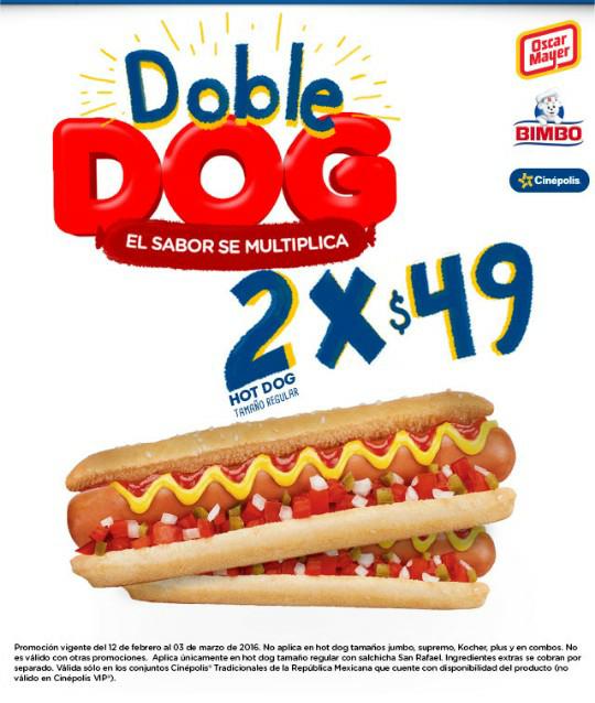 Cinépolis: 2 hotdogs tamaño regular por $49