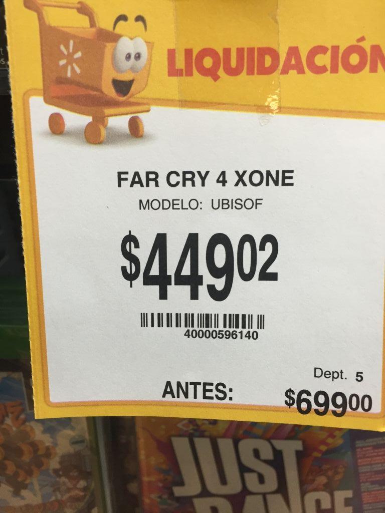 Walmart: Varias liquidaciones, ejemplo: FarCry 4 para Xbox One a $449.02