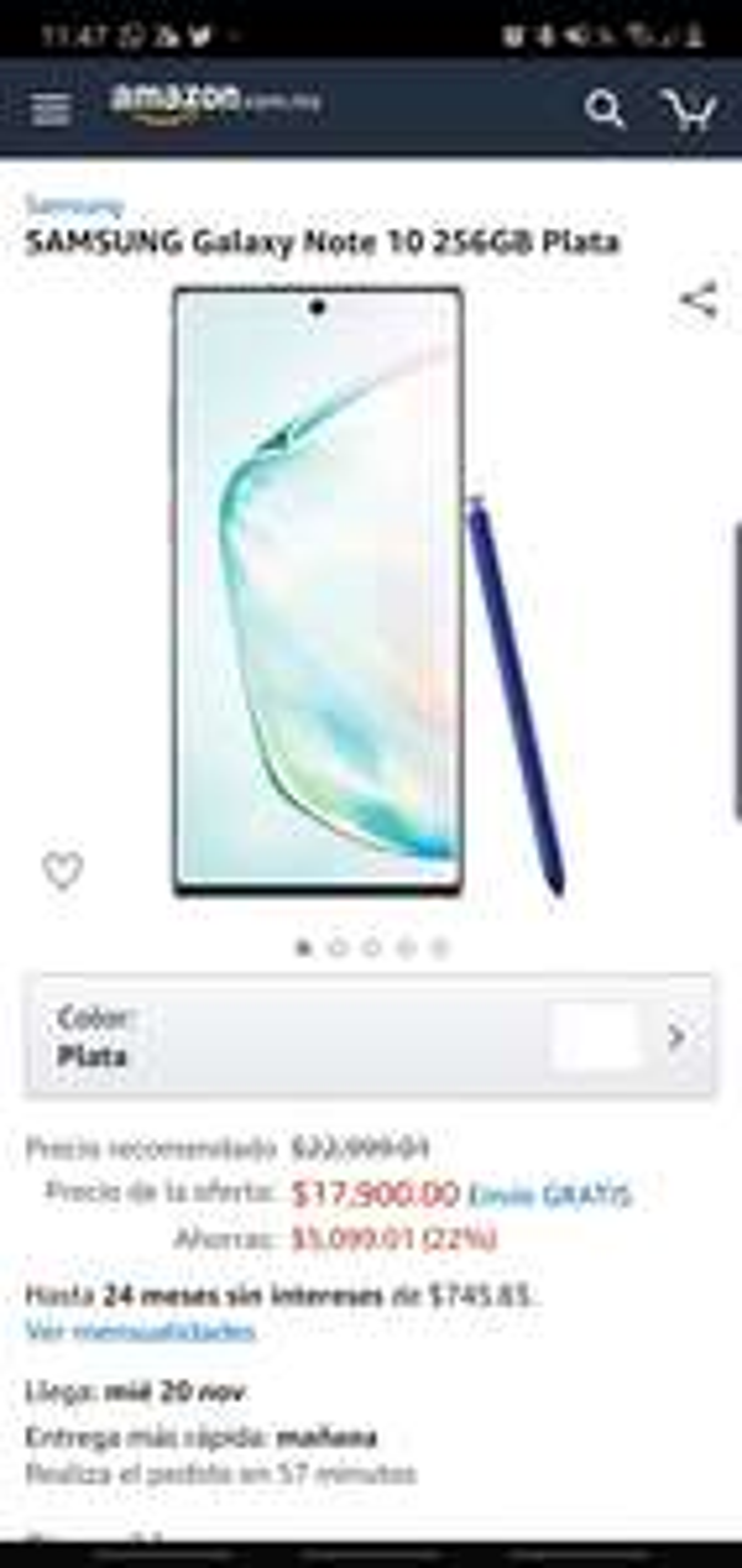 Amazon: Galaxy Note 10 con digital banorte