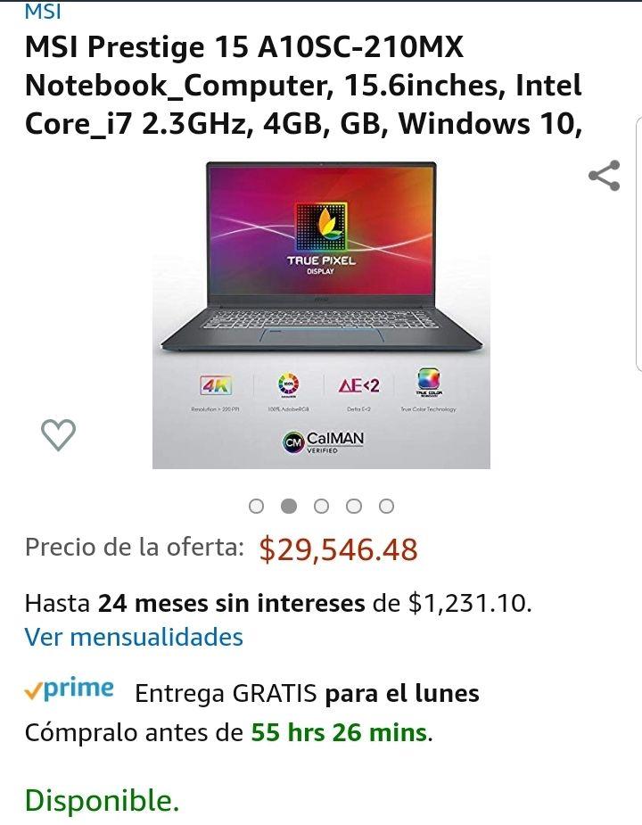 Amazon :MSI Prestige 15 A10SC-210MX Core i7 10ª Gen 16 gbRam