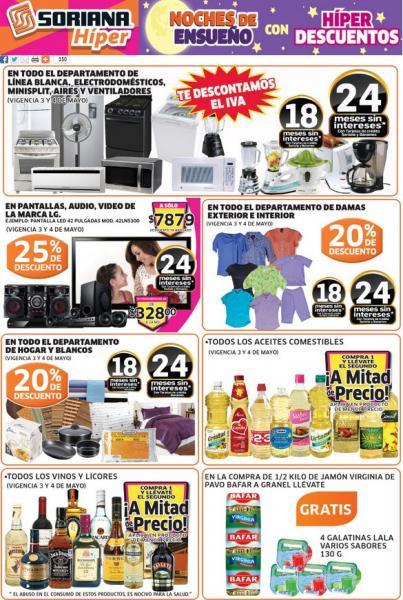 Soriana: todos los vinos y licores segundo a mitad de precio, 25% de descuento en pantallas LG y +