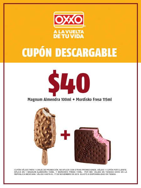 Magnum Almendra 100 ml. y Mordisko de Fresa 115 ml. por $40 pesos | Cupones OXXO