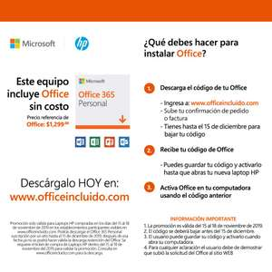 Office 360 Personal sin costo al comprar una laptop HP en Buen Fín-Black Friday-Cyber Monday
